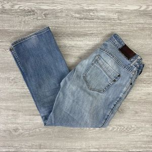 Express Light Wash Ripped Straight Leg Jeans